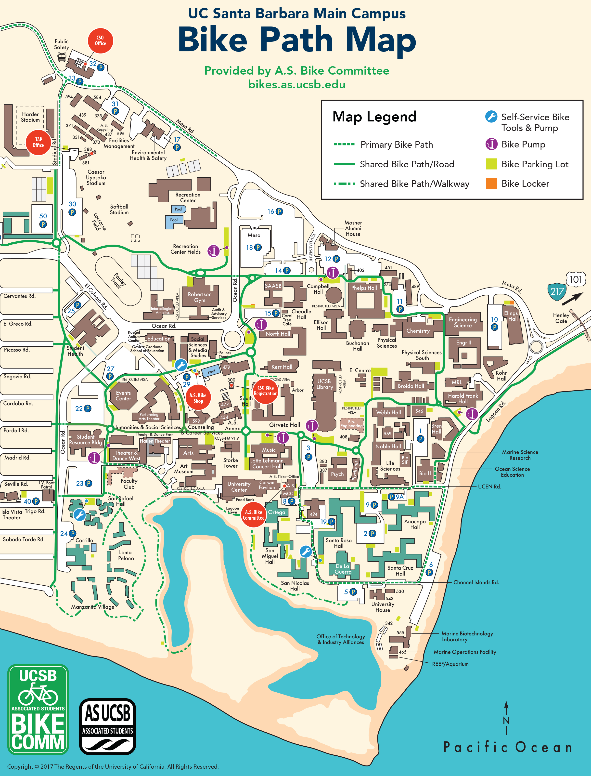 Campus Bike Map Ucsb Associated Students Bike Committee