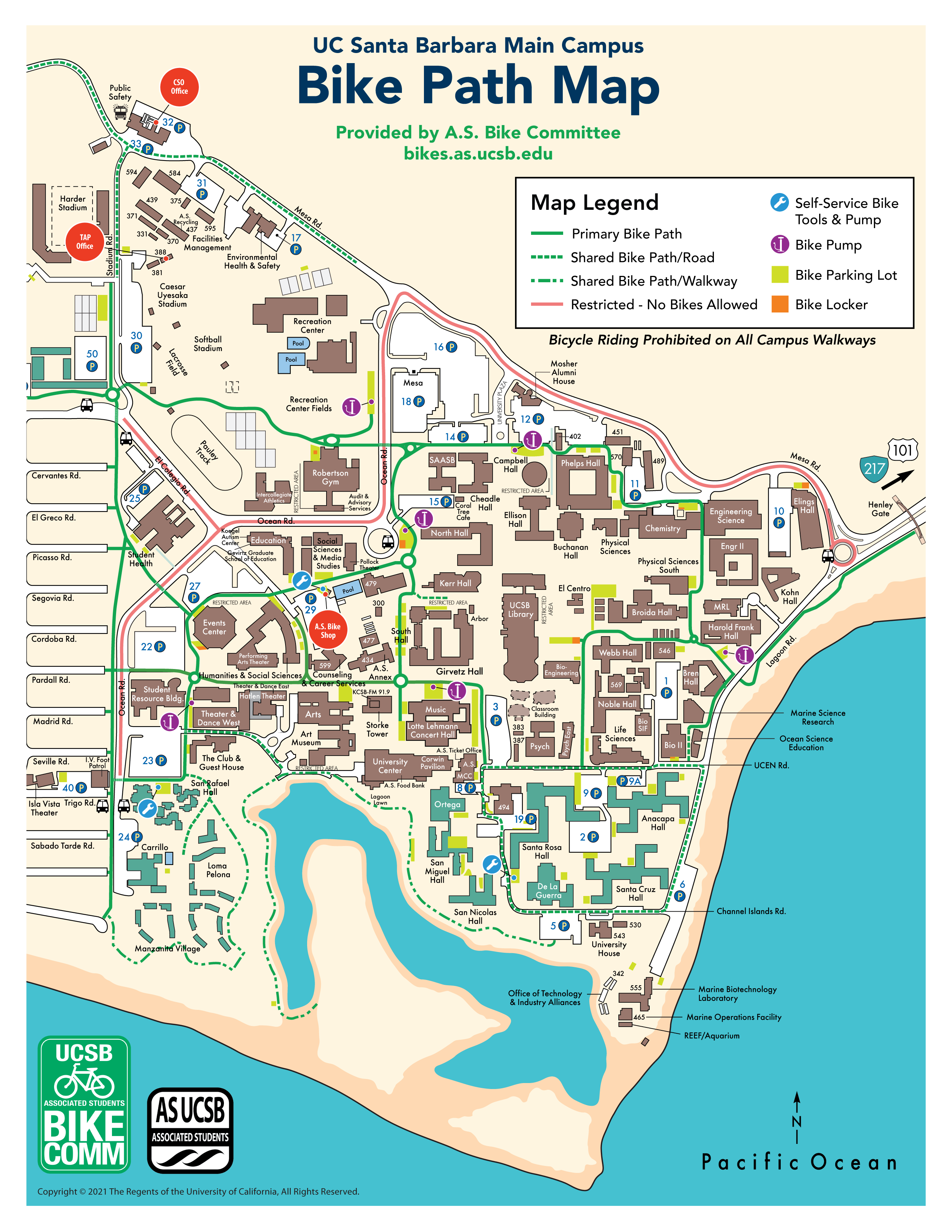 A map of the UCSB campus bike paths and lots